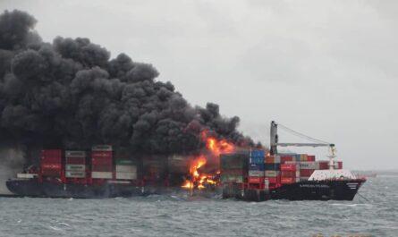 Взрыв и пожар на контейнеровозе MV XPRESS PEARL
